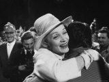 Marlene Dietrich Greeting Old Friends at Berlin Studio, Her First Visit to Germany in 30 Years Premium Photographic Print by James Whitmore
