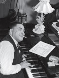 Jazz Pianist Fats Waller Playing Piano with Cigarette Hanging Out of Mouth, at Home Premium Photographic Print