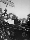 Queen Elizabeth Ii Riding in Carriage with Indian Pres. Rajendra Prasad During Her State Visit Premium Photographic Print by Hank Walker