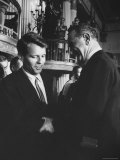 Robert F. Kennedy Standing with Sen. Lyndon B. Johnson Premium Photographic Print by Hank Walker