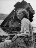 Author Daphine du Maurier Sitting by a Wrecked Ship Premium Photographic Print by Hans Wild