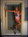 Model Standing in Doorway Modeling Ralph Lauren's Cotton and Lycra One Piece Flag Bathing Suit Photographic Print by Ted Thai