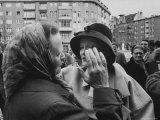 Marlene Dietrich Greeted by Crowds on Her Return to Berlin Premium Photographic Print by James Whitmore