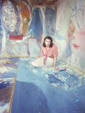 Painter Helen Frankenthaler Sitting Amidst Her Art in Her Studio Premium Photographic Print by Gordon Parks