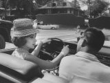Gina Lollobrigida Taking a Driving Lesson Premium Photographic Print by Peter Stackpole