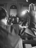 Sen. Joseph McCarthy Swearing in Hearing on Communisn where Hammet Suspected of Being a Communist Premium Photographic Print by Hank Walker
