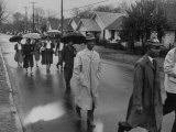 Pilgrimage Protest with Black Montgomery Citizens Walking to Work, in Wake of Rosa Parks Incident Premium Photographic Print by Grey Villet