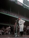 Baseball Great Babe Ruth, Addressing Crowd and Press During Final Appearance at Yankee Stadium Premium Photographic Print by Ralph Morse