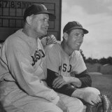 Red Sox's Manger Joe McCarthy and Baseball Player Ted Williams Sitting in Dug Out During Game Premium Photographic Print by Frank Scherschel