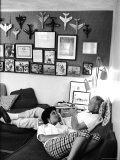 Astronaut John Glenn with His Wife Annie Relaxing at Home, Playing a Trumpet Premium Photographic Print by Ralph Morse