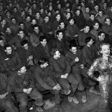 Marlene Dietrich with Back Turned on Audience of Servicemen during Her Mental Telepathy Act Premium Photographic Print by George Silk