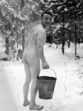 Naked Finnish Soldier Carrying Bucket of Water Back to Friends Enjoying Sauna Bath Nearby Premium Photographic Print by Carl Mydans