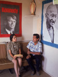 United Farm Workers Leader Cesar Chavez with VP Dolores Heurta During Grape Pickers' Strike Premium Photographic Print by Arthur Schatz