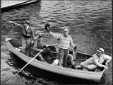 President Harry S. Truman Standing in Rowboat, Fishing with Others Premium Photographic Print by George Skadding