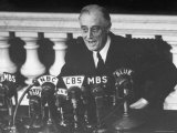 President Franklin D. Roosevelt Sitting in Front of a Network Radio Microphones Photographic Print by George Skadding