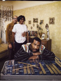 Folk Singer Richie Havens Leaning on Xylophone with Parents: Richard and Mildred in Background Reprodukcja zdjęcia premium autor John Olson