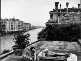 Scene from the Grand Canal: Peggy Guggenheim on Her Roof Premium Photographic Print by Frank Scherschel