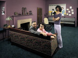 Frank Zappa with Parents: Francis and Rosemary in Frank's Home Fototryk i høj kvalitet af John Olson