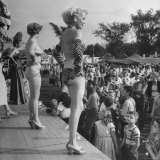 "Women on Platform in Front of Tent to Stir Up Business for ""Peep Show"" at Michigan State Fair Photographic Print by Francis Miller"