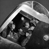 Bombardier in Training, Instructor in Nose of At11 Trainer Plane at Army Air Force Training Center Photographic Print by William C. Shrout