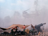 Shirtless American Soldiers of 1st Batt, Erect Canopy over a Sandbagged Position in Vietnam War Premium Photographic Print by Co Rentmeester