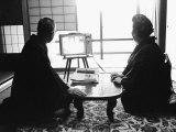 Founder of Matsushita Electronics, Corp Konosuke Matsishita and Wife Watching TV Impressão fotográfica premium por Bill Ray
