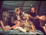 Tent Dwelling Hippie Family of Mystic Arts Commune Bray Family Reading Bedtime Stories Photographic Print by John Olson