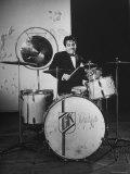 Drummer Gene Krupa Performing at Gjon Mili's Studio Premium-Fotodruck von Gjon Mili