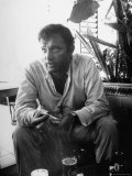 Richard Burton Relaxing in Cantina on Location Premium Photographic Print by Gjon Mili