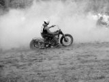 Young Men Racing Motorcycles on Track, Near Detroit, Michigan Premium Photographic Print by John Shearer