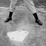 "Close Up of ""Yankee Clipper"" Joe DiMaggio's Legs in Batting Stance at Home Plate Premium Photographic Print by Ralph Morse"