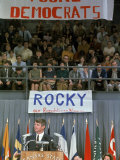 Dem. Presidential Candidate Sen. Robert F. Kennedy Speaking to Kansas State University Students Premium Photographic Print by George Silk