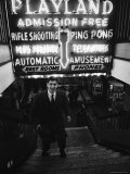 Chess Champion Bobby Fischer at the Entrance to a Playland Arcade Premium Photographic Print by Carl Mydans