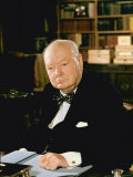 British Politician Sir Winston Churchill, Formal Portrait at Desk Premium Photographic Print by Carl Mydans