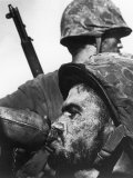 Weary American Marine, Pfc T. E. Underwood, During the Final Days of the Fierce Battle for Saipan Premium Photographic Print by W. Eugene Smith