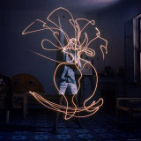 Pablo Picasso Drawing an Image Using a Light Pen Premium Photographic Print by Gjon Mili