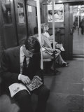 Chess Champion Bobby Fischer Working on His Moves During a Subway Ride Metal Print by Carl Mydans