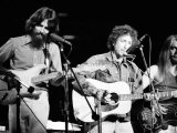 George Harrison, Bob Dylan and Leon Russell Performing for Bangladesh at Madison Square Garden Metal Print by Bill Ray