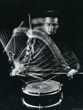 Drummer Gene Krupa Playing Drum at Gjon Mili's Studio Metal Print by Gjon Mili