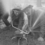 William D. Egly and Columbus Harris Inventors of the Lawn Master Photographic Print by Francis Miller
