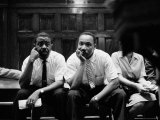 Rev. Ralph Abernathy and Rev. Martin Luther King Jr. Sitting Pensively Re Freedom Riders Premium Photographic Print by Paul Schutzer
