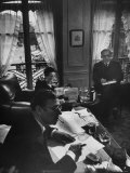 Jean Paul Sartre, Simone de Beauvoir and Saul Steinberg at Sartre's Home in Paris Metal Print by Gjon Mili