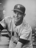 Good Smiling Portrait of NY Yankees Outfielder Mickey Mantle in Away Gray NY Uniform Premium Photographic Print by Frank Scherschel