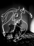 Multiple Exposure of Artist Pablo Picasso Using Flashlight to Make Light Drawing of a Figure Premium Photographic Print by Gjon Mili