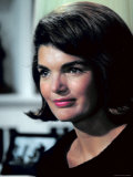 Candid Portrait of Former First Lady Jackie Kennedy in Her Georgetown Living Room Premium Photographic Print by George Silk