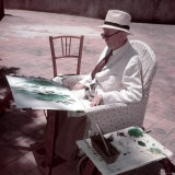 Raoul Dufy Painting on Sunny Terrace in Caldas de Montbuy, Spain Premium Photographic Print by Gjon Mili