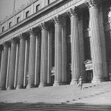 Columns with Corinthian Capitals Supporting Long Pediment at Entrance of Main Post Office Photographic Print by John Phillips