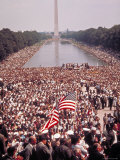 Washington Monument and Freedom Marchers during I Have a Dream Speech, Life Magazine