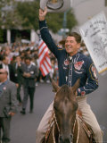 California Republican Gubernatorial Candidate Ronald Reagan in Cowboy Attire, Riding Horse Outside Premium Photographic Print by Bill Ray