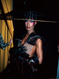 Grace Jones, Wearing Unusual Hat Premium Photographic Print by John Paschal